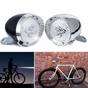 Fanale-Faro-Luce-Anteriore-a-3-LED-Bici-Epoca-Lampada-Vintage-staffa