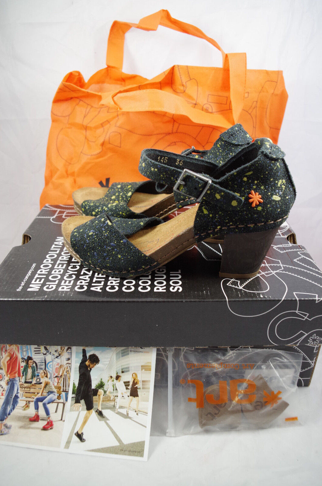 The Art Company Resin Dotted Black Womens Leather Heels Ankle Size 36 US 3.5