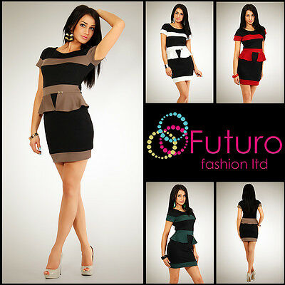 HQ Womens Elegant Cocktail Dress with Basque Two Colors Shift Sizes 8-14 T27