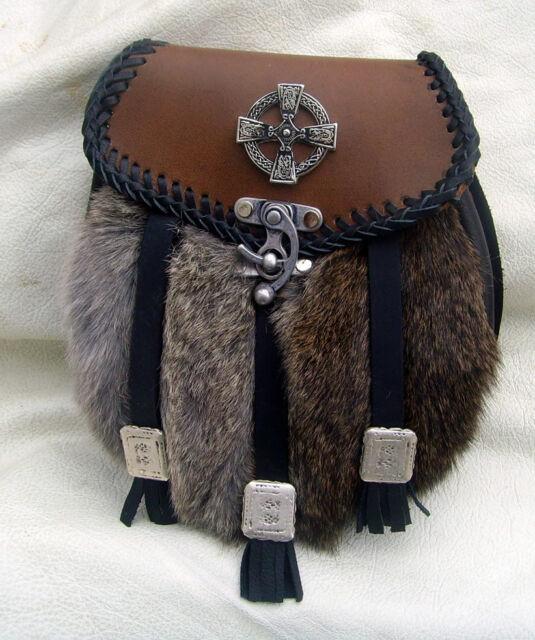 Sporran Kilt Tasche groß Neu Made in Germany Leder