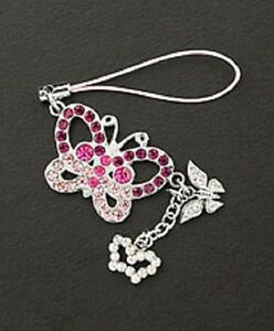 Cell-Phone-Charm-Silver-Dangle-Crystal-Butterfly-Free-Shipping-Christmas-Gifts