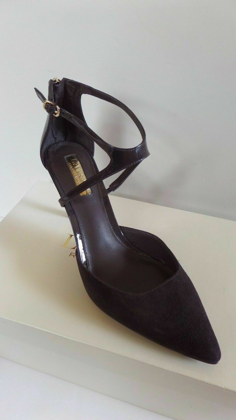 Ralph Lauren Kabira Dark Chocolate Suede Closed Pointed Toe Tall Slim Heel 7.5 B