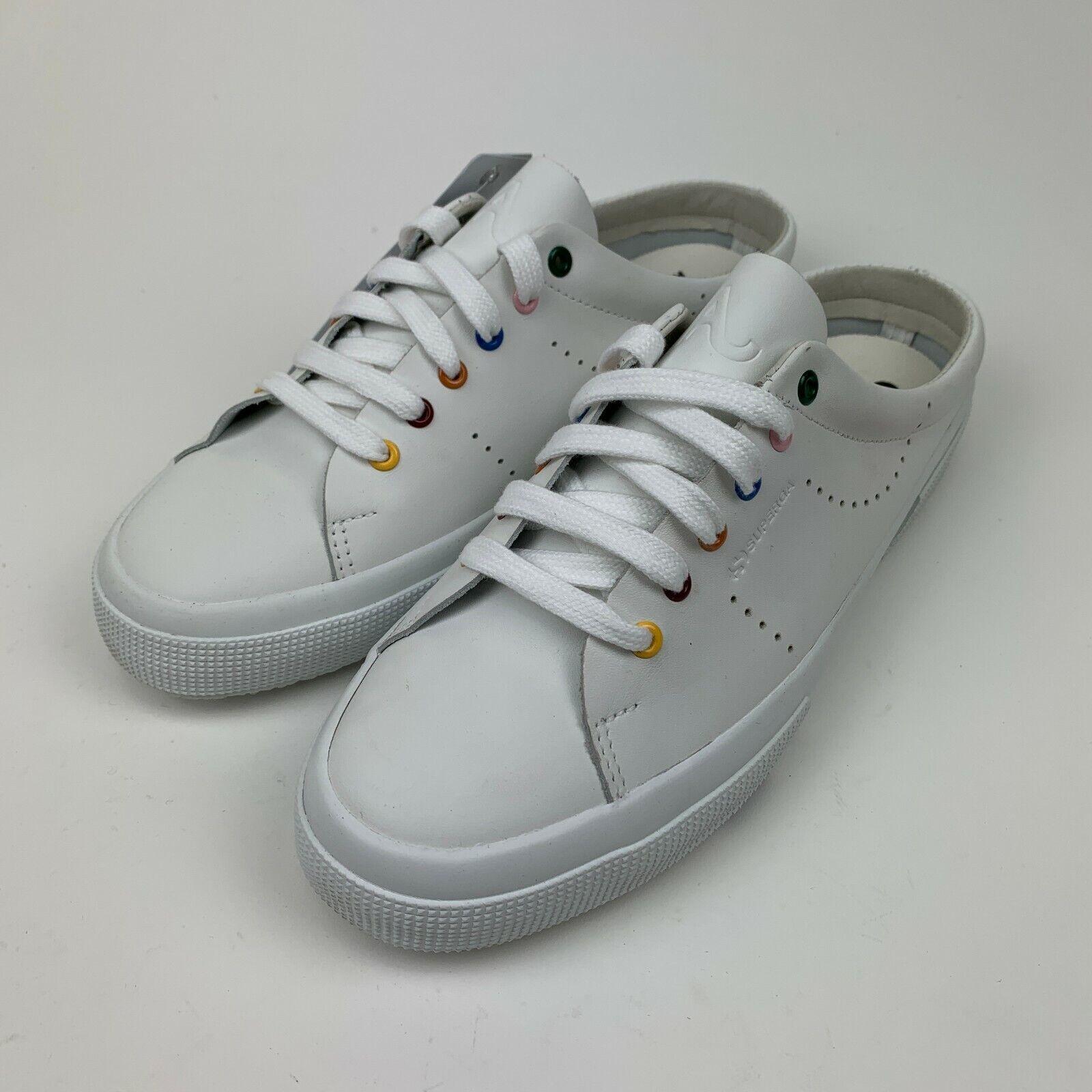 NIB SUPERGA 2402 Alexa Chung Womens White Rainbow Leather Casual Sneaker Shoes