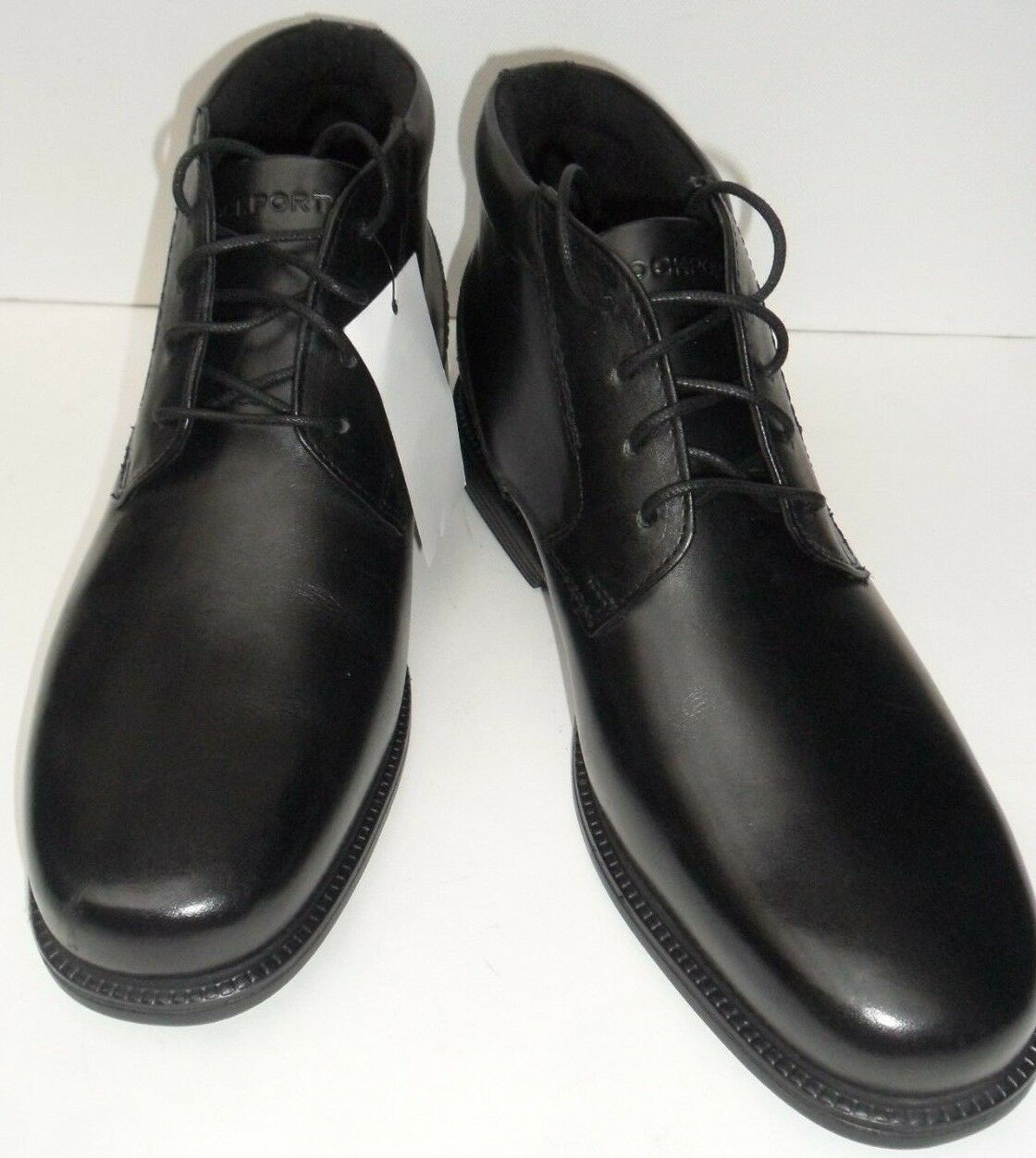 Para Hombre Rockport botas con Cordones Cuero Negro-Talla