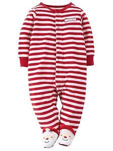 ca6afd0cd NWT CARTER S BABY BOY GIRL SANTA FOOTED STRIPED SLEEPER PAJAMAS 3 ...