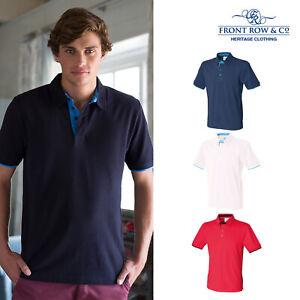Front-Row-elegant-contraste-Polo-en-pique-FR200-a-Manches-Courtes-T-shirts