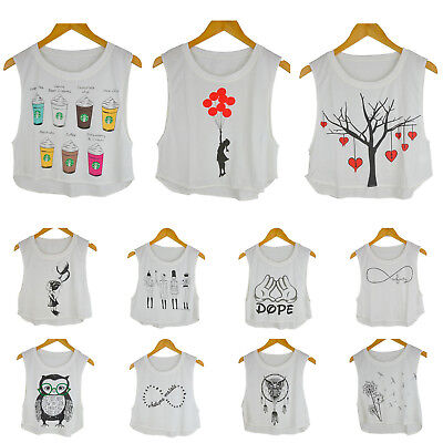 Owl White UK Girl Lady/'s Cropped Dancing Top t shirt Banksy Girl Tree Heart
