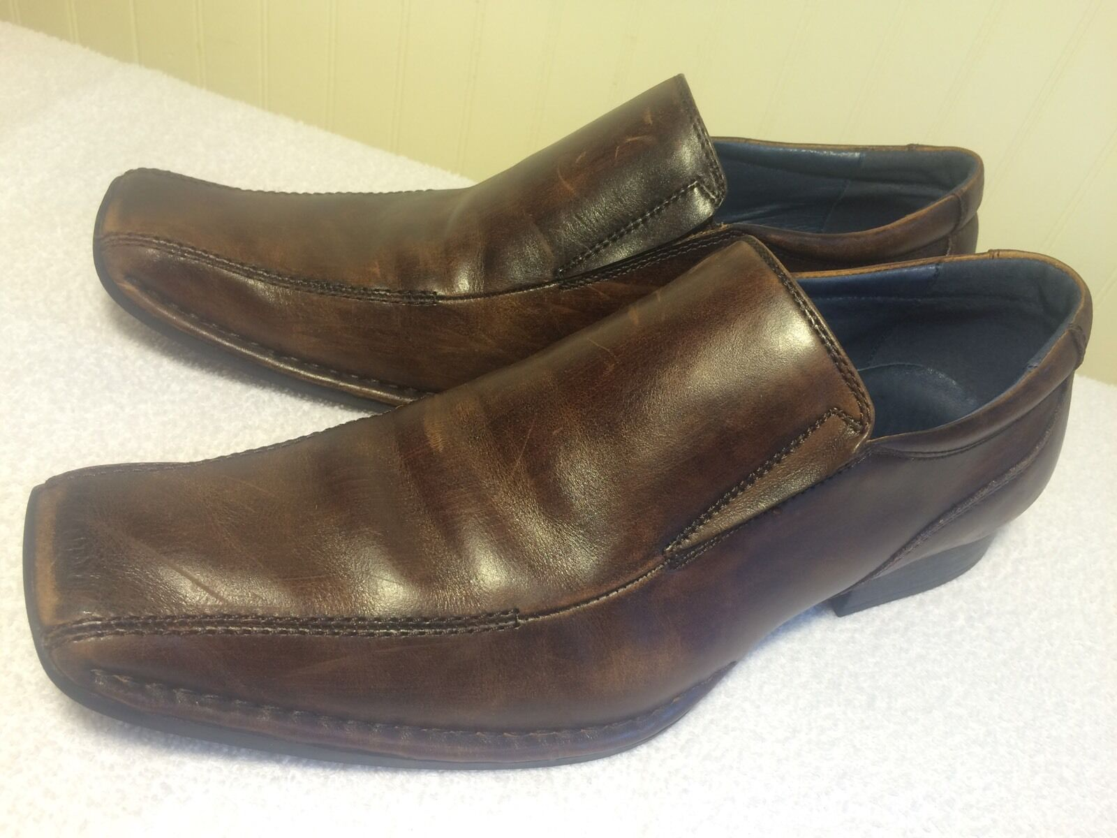 Mens Aldo Slip On Brown Leather Dress shoes US 10 Box Square Toes Classic