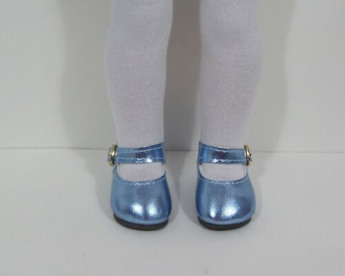 "LT BLUE Metallic Doll Shoes For 14/"" American Girl Wellie Wisher Wishers Debs"