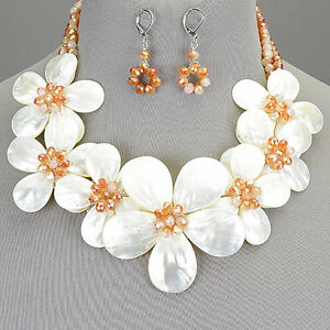 Topaz colored seed beaded flower statement necklace white shell with image is loading topaz colored seed beaded flower statement necklace white mightylinksfo