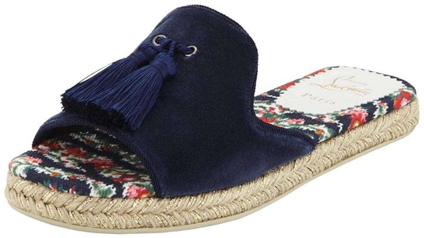 NIB Christian Louboutin Pacha Flat Navy bluee Tassel Espadrille Slide Sandals 40