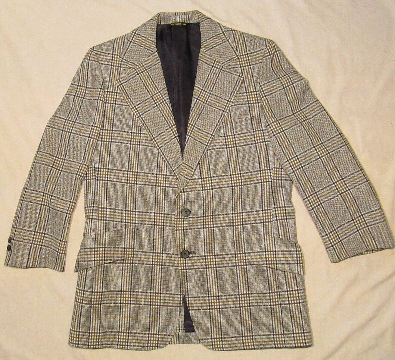 40R BROOKS BROTHERS Curlees Suit 1970's Weiß PLAID Two Button Polyester 36x25