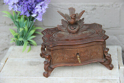RIGI Wood Trinket Box Made In Switzerland Vintage Wood Box Vintage Trinket Box Vintage Box Vintage Black Forest Style Carved Wood Box