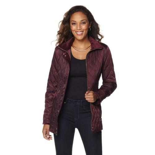 Vince Camuto Quilted Satin Jacket with Velvet Trim 493298-J
