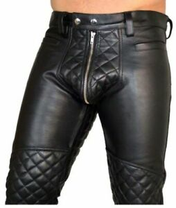 Para-Hombres-Pantalones-de-Cuero-Real-Doble-Cremalleras-Pantalones-Pantalones-de-cuero-de-vaca-cuero