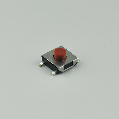50pcs SMD Tact Switch Tactile Micro Switch Red Push Button 4 Pin SMT 6*6*3.7mm