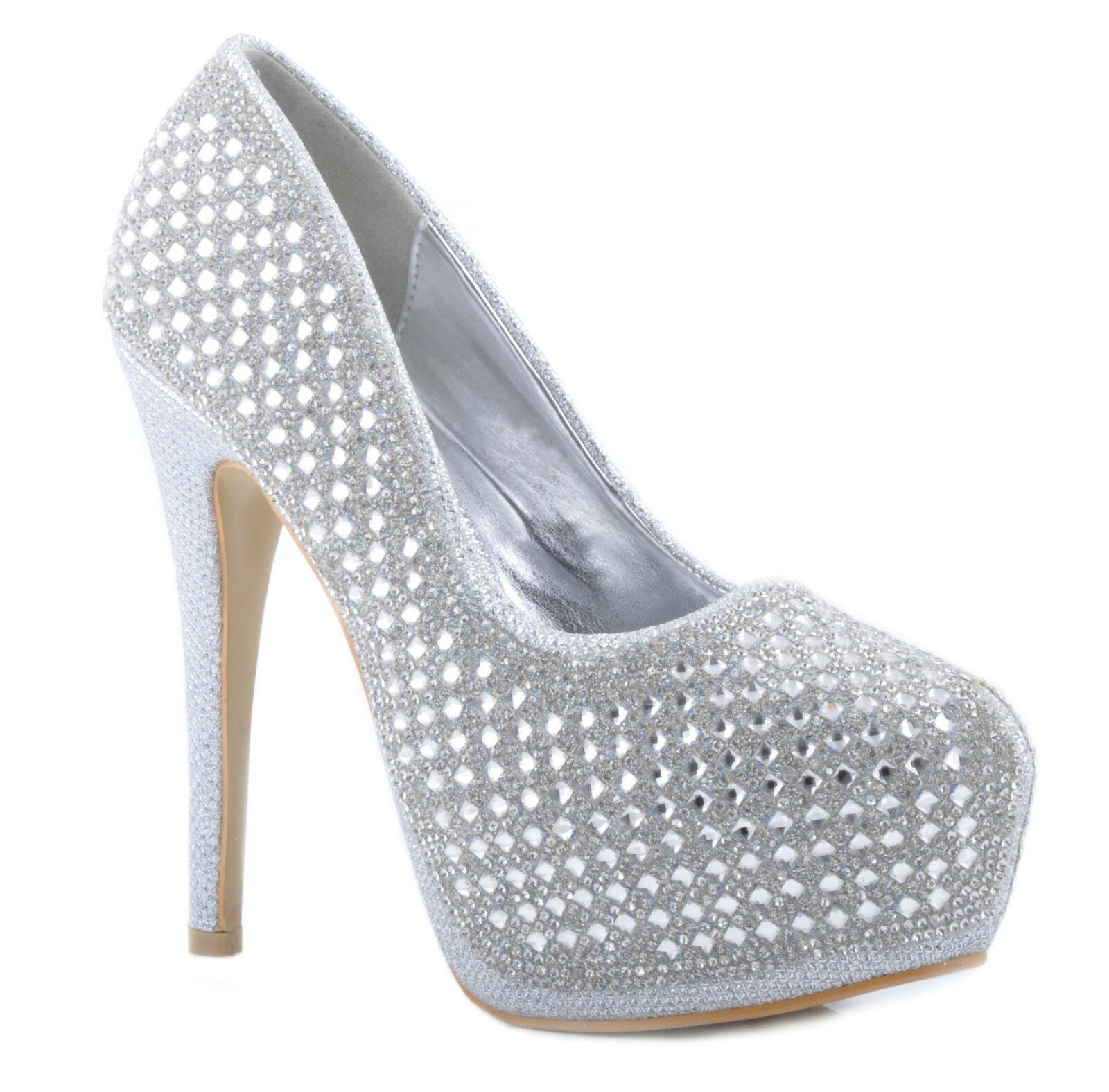 Silver Shiny Diamantes Studded Platorm High Heels Wedding Bridal Party Prom Heel