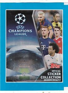 1-POCHETTE-10-STICKERS-TOPPS-UEFA-CHAMPIONS-LEAGUE-2016-17-FOOT