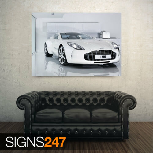 CAR POSTER AA310 Poster Print Art A0 A1 A2 A3 WHITE ASTON MARTIN ONE 77