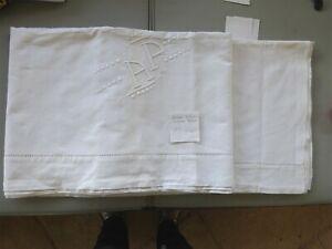 (6) Ancien Drap En Lin Blanc Brode Mains Jour Monogramme Ap 214 X 320 éLéGant Dans Le Style
