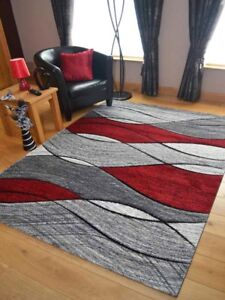 Quality Light Dark Silver Grey Red Waves Design Mats Rugs