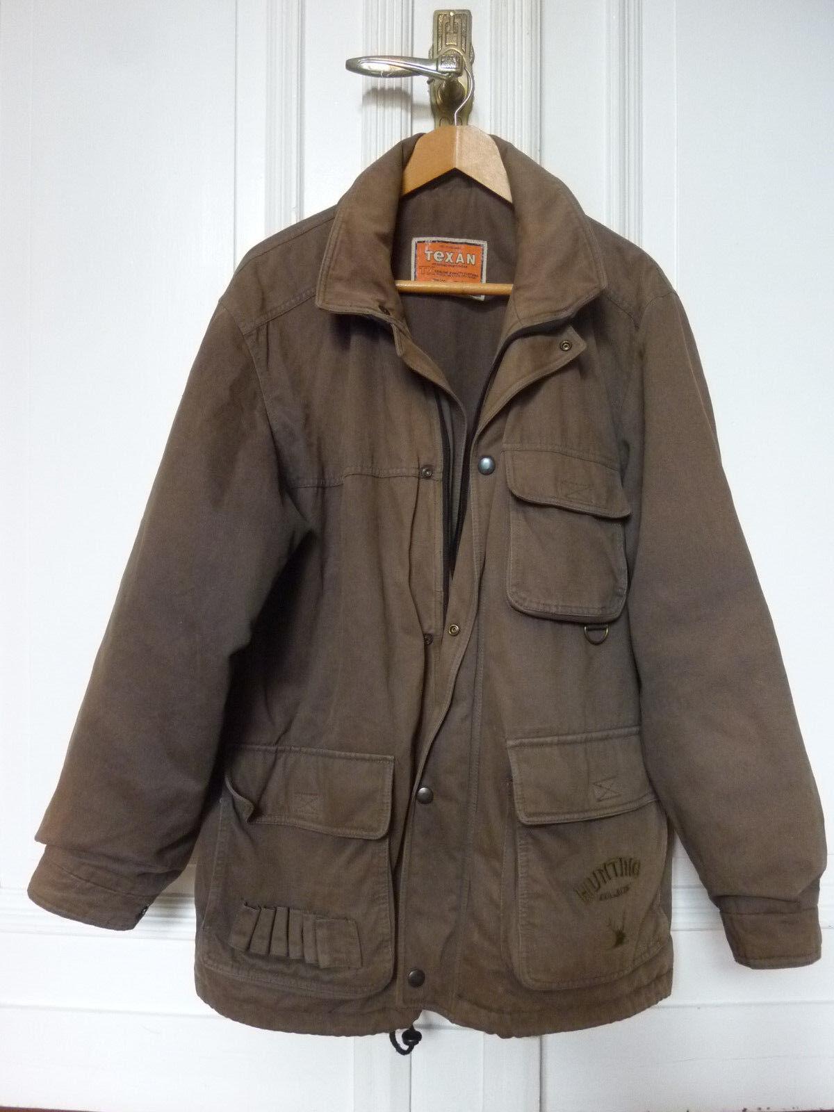 Vintage Jagd Mantel Jäger Mantel von Texan mit Schredpatronenhalter Gr.56   XL