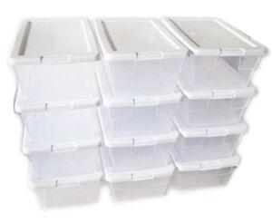6 quart Sterilite Storage Box w white Lid Container Plastic shoe
