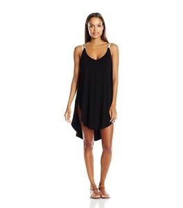 Lucky-Brand-Junior-039-s-Coastal-Palms-Knit-Tulip-Side-Dress-Cover-up-size-M
