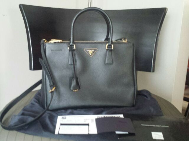 fafc8662caa4 ... uk prada saffiano medium double zip top handle crossbody bag saks w  receipt black 36e16 dd457 ...
