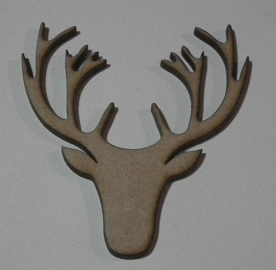 Pack of 10 50mm High MDF Stags head blanks for embellishing your project #04