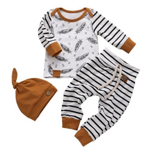 3pcs//set Autumn Feather Print Striped Kids Long Sleeve Tops Long Pants Cap