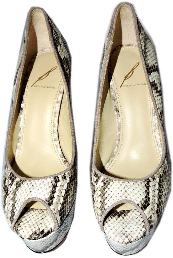 b brian atwood, pompes de serpent pour naturelles 9 compensées en cuir chaussures 9 naturelles sandale 3 7787af