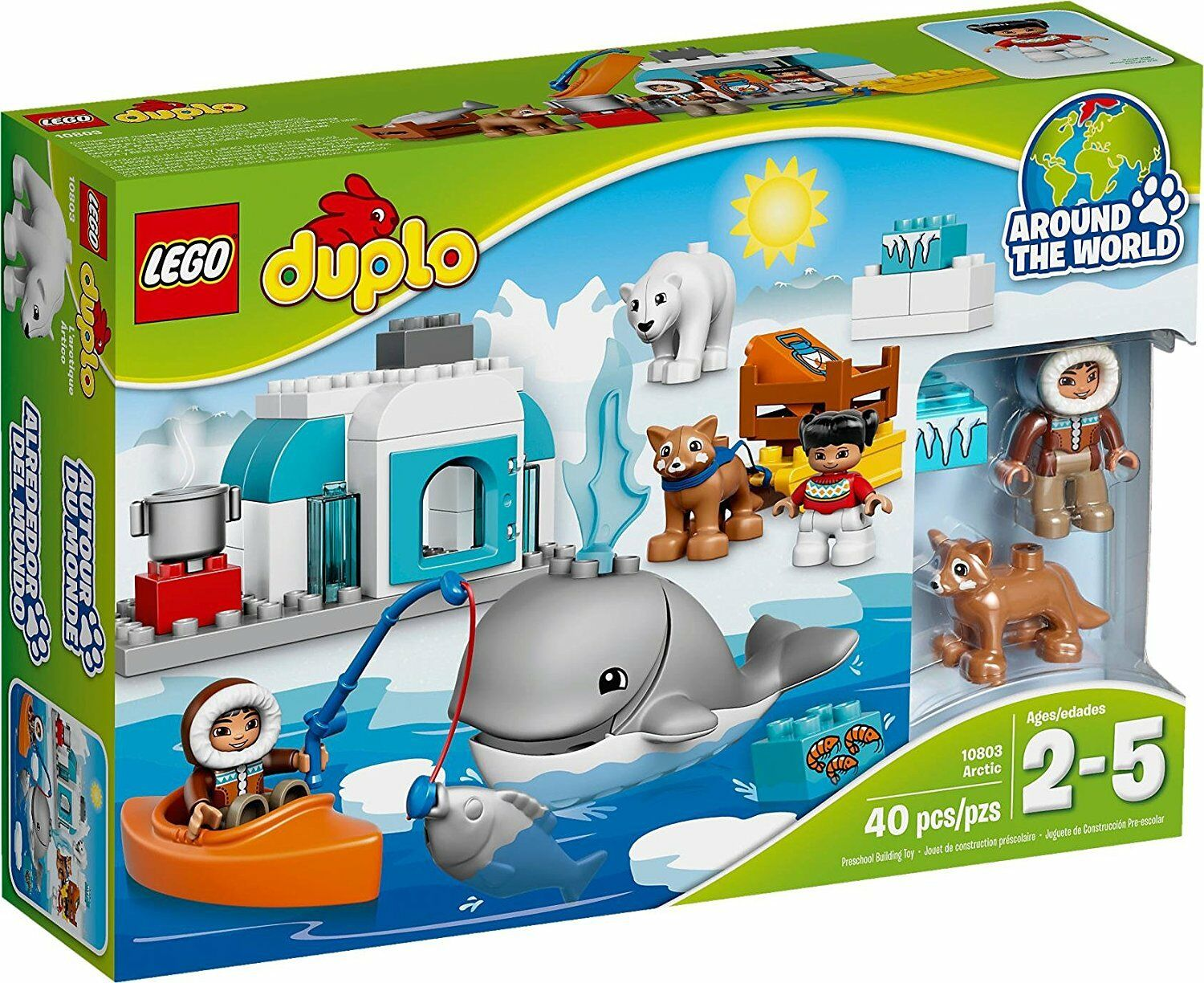 Lego Duplo 10803 ARCTIC wildlife Whale Polar Bear Husky Dog Kayak Fish NEW