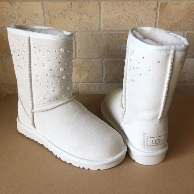 Details zu UGG Classic Short Everlasting Swarovski Bling White Suede Boots Size US 6 Womens