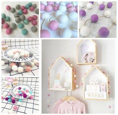 Hanging Ornament Wool Felt Ball Handmade Pom Garland Nursery Kids Room Decor