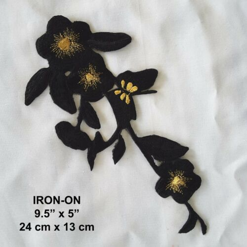 Aqua Blue Flower Embroidered Iron-on Dress Patch Floral Cosplay Pansy Applique