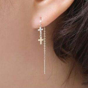 TPD-14K-Solid-Yellow-Gold-Double-Cross-Long-Threader-Dangle-a-Pair-of-Earrings