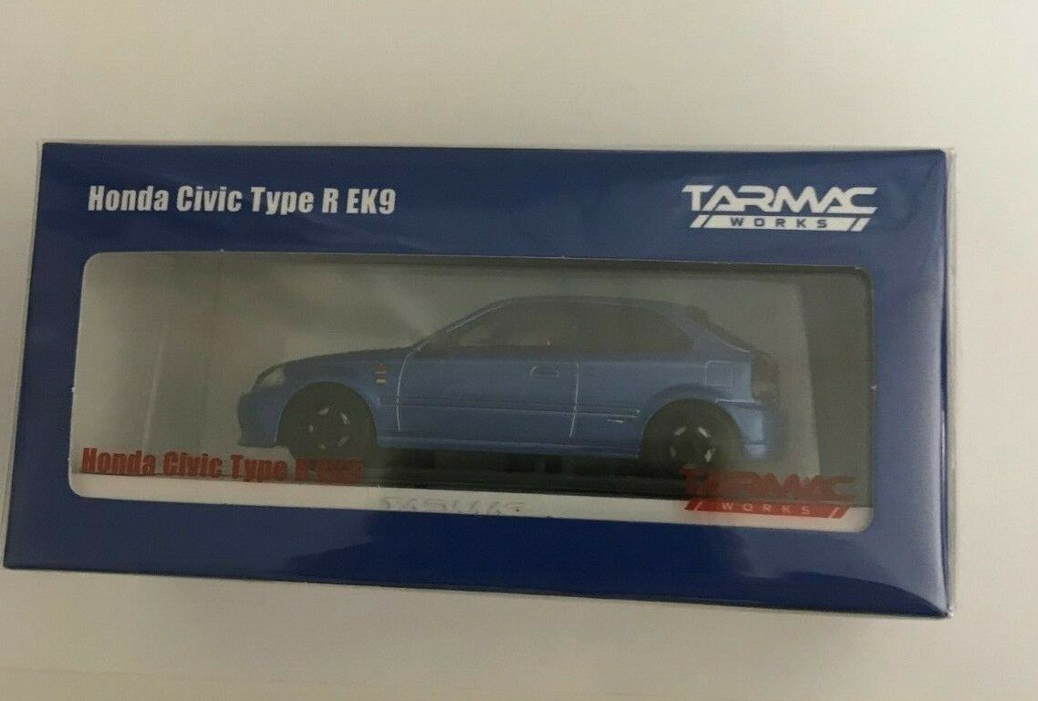 Tarmac Works 1 64 Honda Civic Type R EK9 bleu with special container Limited 999