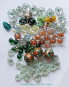 AgréAble Perles Artisanales Diverses Pate De Verre Tailles Variees Lot Promo