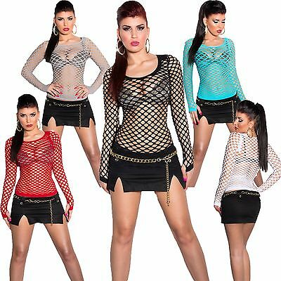 Damen Shirt langarm Langarmshirt Netz Optik Netztop Top Dance Club S 32 34 36 38