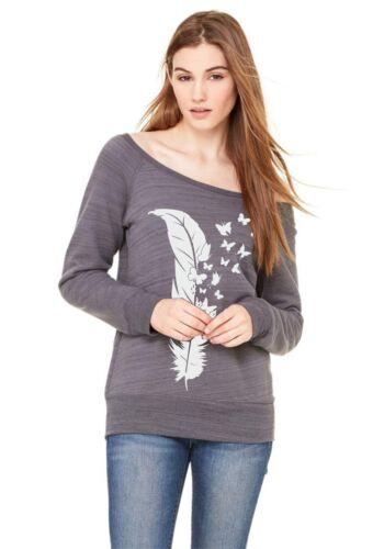 Sweatshirt Pullover Damenshirt Feder Schmetterling Langarmshirt Butterfly Pulli