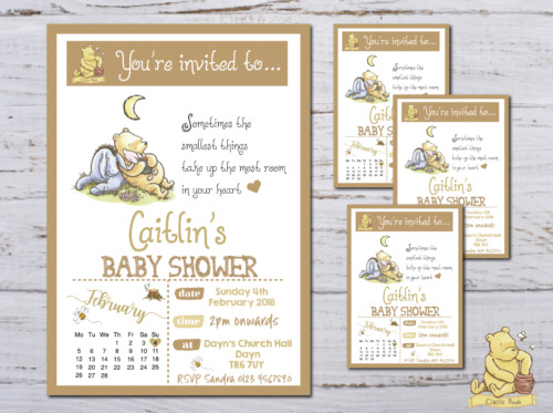 10 Personalised Classic Winnie The Pooh Baby Shower