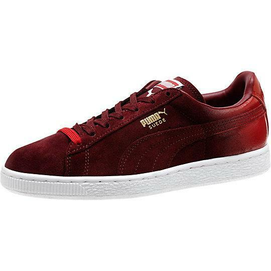 PUMA SUEDE CLASSIC + BLUR GRADIENT 360793 03 CABERNET MAROON/HIGH RISK RED/WHITE New shoes for men and women, limited time discount