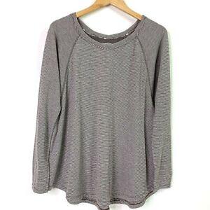 Tommy-Hilfiger-Sport-Womens-Top-Brown-Raglan-Long-Sleeve-Pullover-Shirt-Casual-M