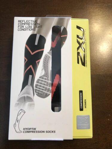 2XU Womens Hyoptik Compression Socks Reflective Sz XS $55 New Black//Pink