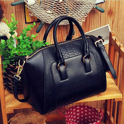 New Women Shoulder Bag Faux Leather Satchel Crossbody Bags Tote Handbag Black
