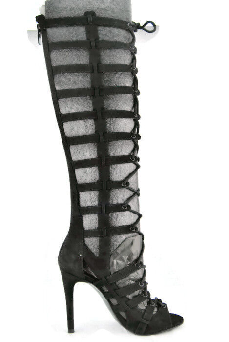 Kendall+Kylie Emily Women's Gladiator Boots,Blk Fabric,New,(L)6M,(R)7M,Mismatch