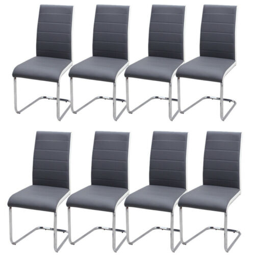 Stylish Chrome Metal Modern Dining 2-8 Chairs Set FX Leather Kitchen Dinner Seat Grey,White,Brown,Black