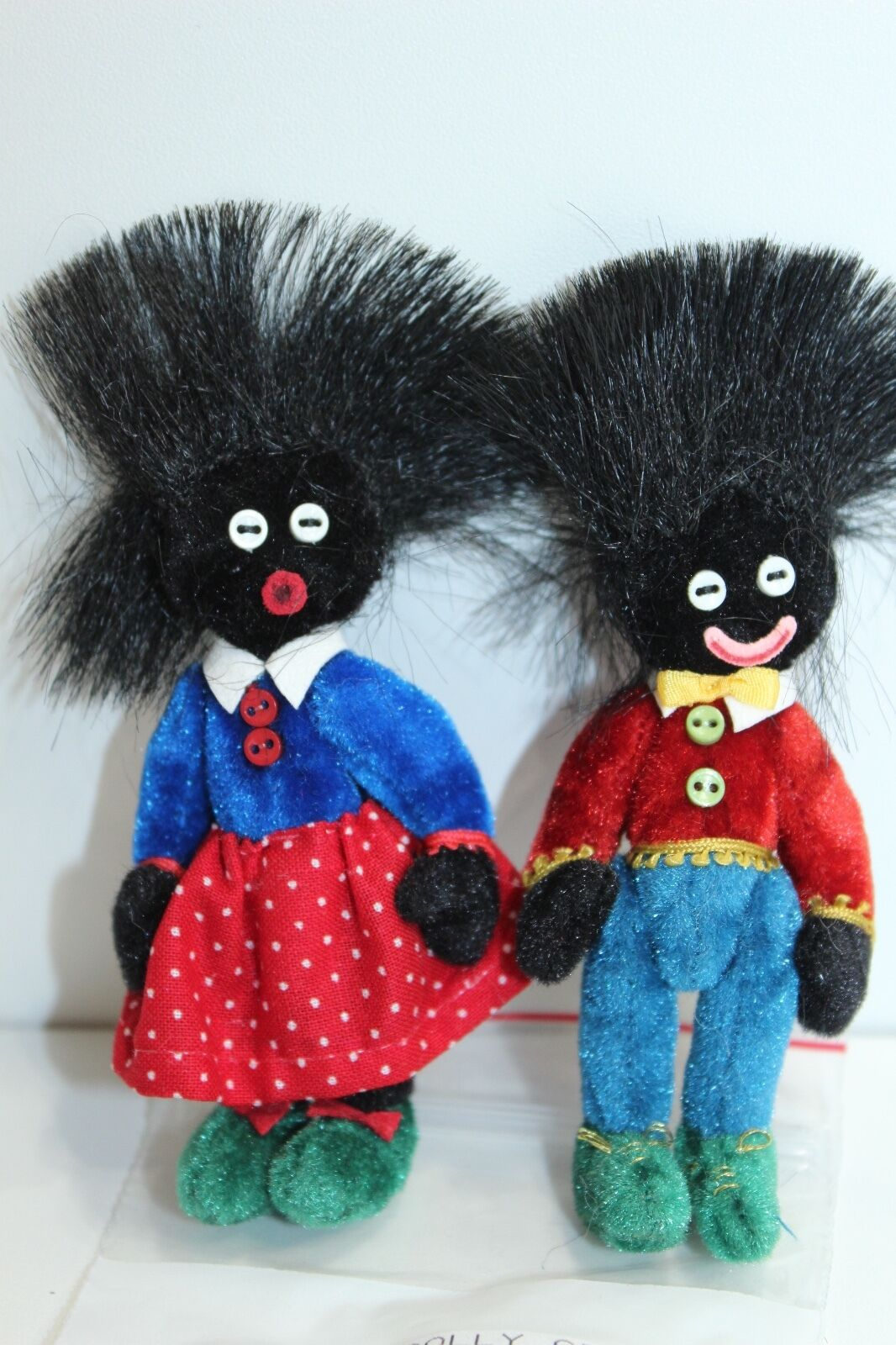 Little Gem Teddy Bears Boy and Girl Colorful Outfits Tall Hair Pair Set of 2