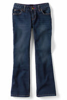 Lands End Girl's 5-pocket Denim Boot Cut Jean Antique Dark Wash Size 7